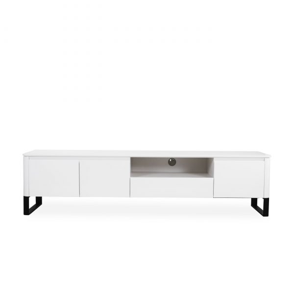 Olympia TV Unit in White Lacquer, Front