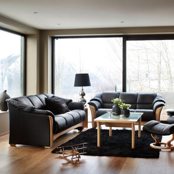 Ekornes® Oslo Sofa and Loveseat in Paloma Black in Living Room