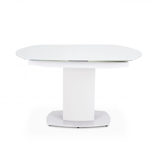 Paul Dining Table in White, Straight, Closed