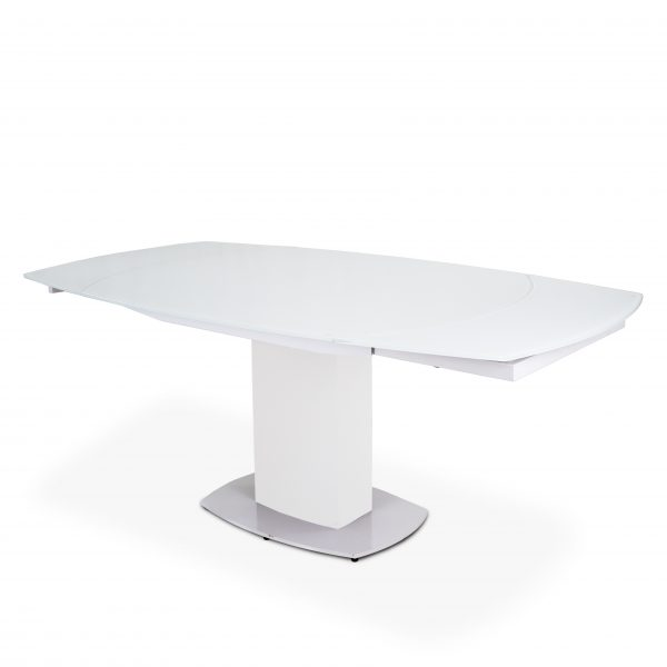Paul Dining Table in White, Angle, Extended