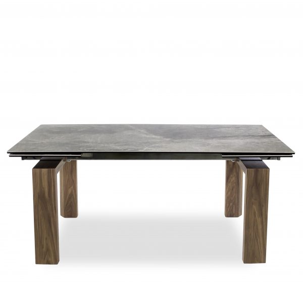 Potrero Dining Table with Grey Ceramic Top and Walnut Legs, Straight