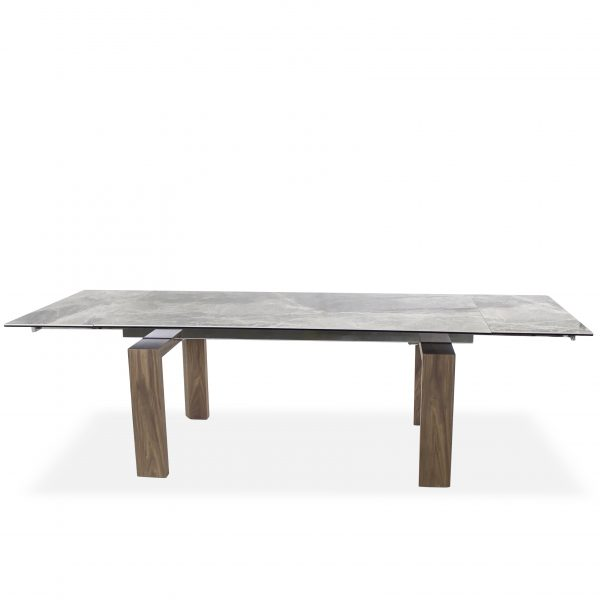 Potrero Dining Table with Grey Ceramic Top and Walnut Legs, Straight, Extended