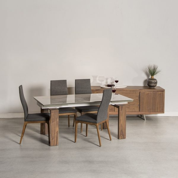 Potrero Dining Table with White Ceramic Top and Walnut Legs on Display