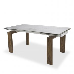 Potrero Dining Table with White Ceramic Top and Walnut Legs, Angle