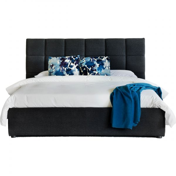 Rudy Storage Bed in Charcoal Fabric from Front