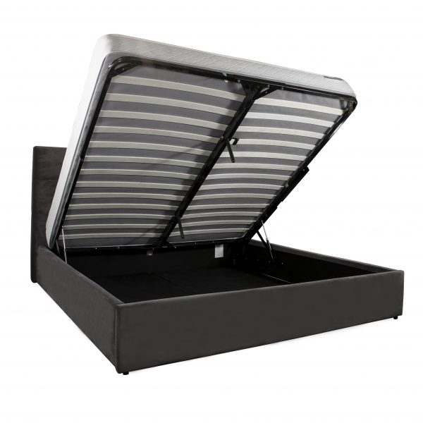 Rudy Bed in Dark Grey C39, Angle, Storage Bed Open