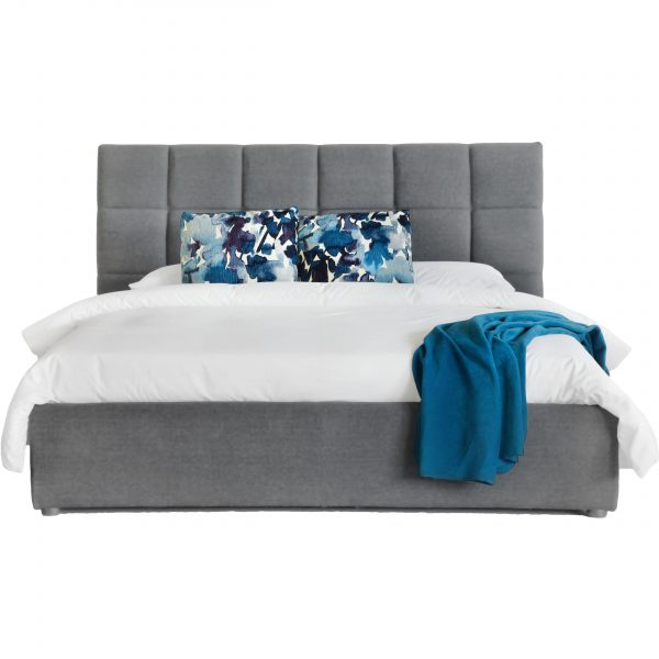 Rudy Storage Bed in Grey Fabric from Front