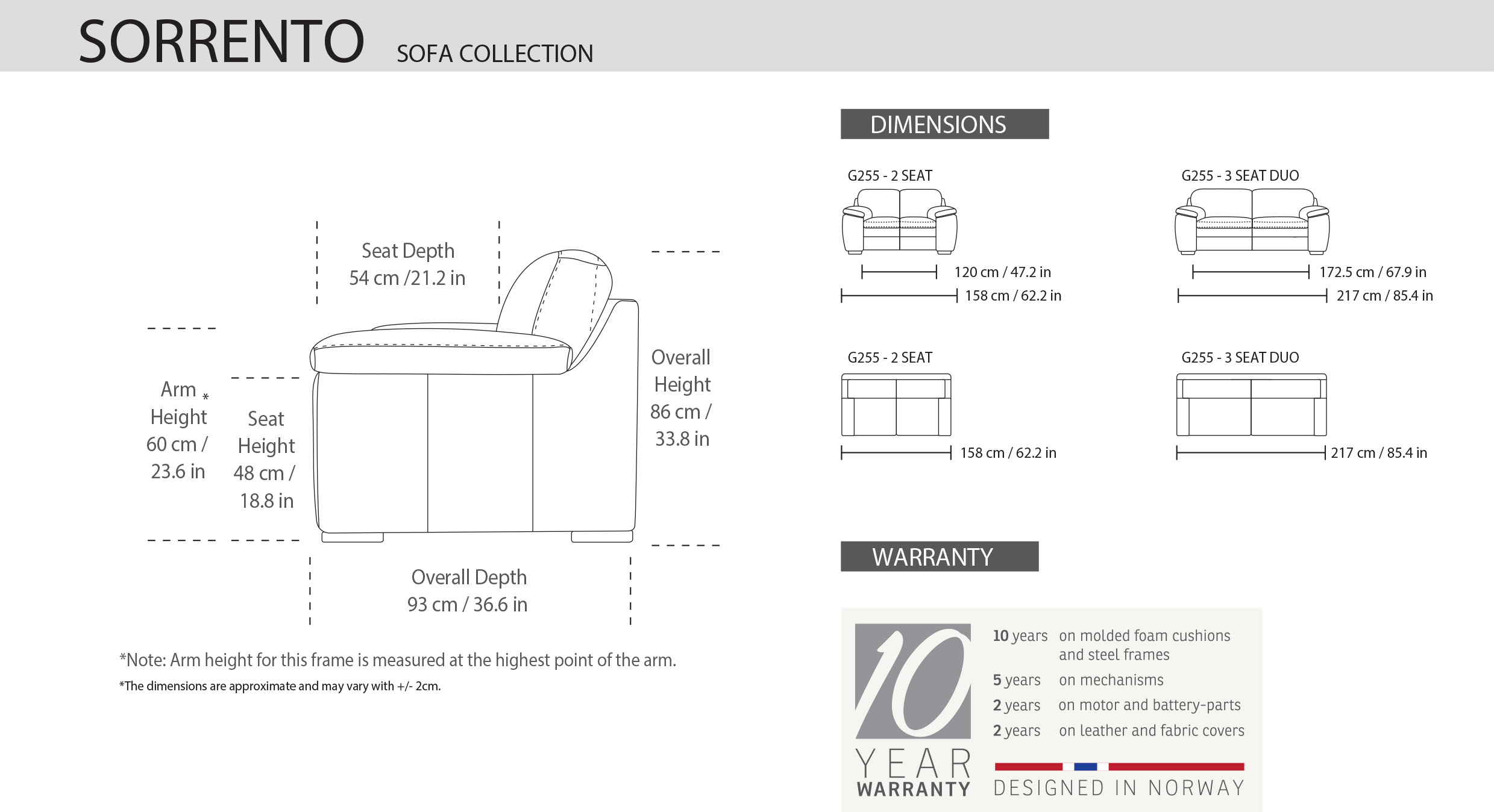 IMG Sorrento Loveseat Dimensions