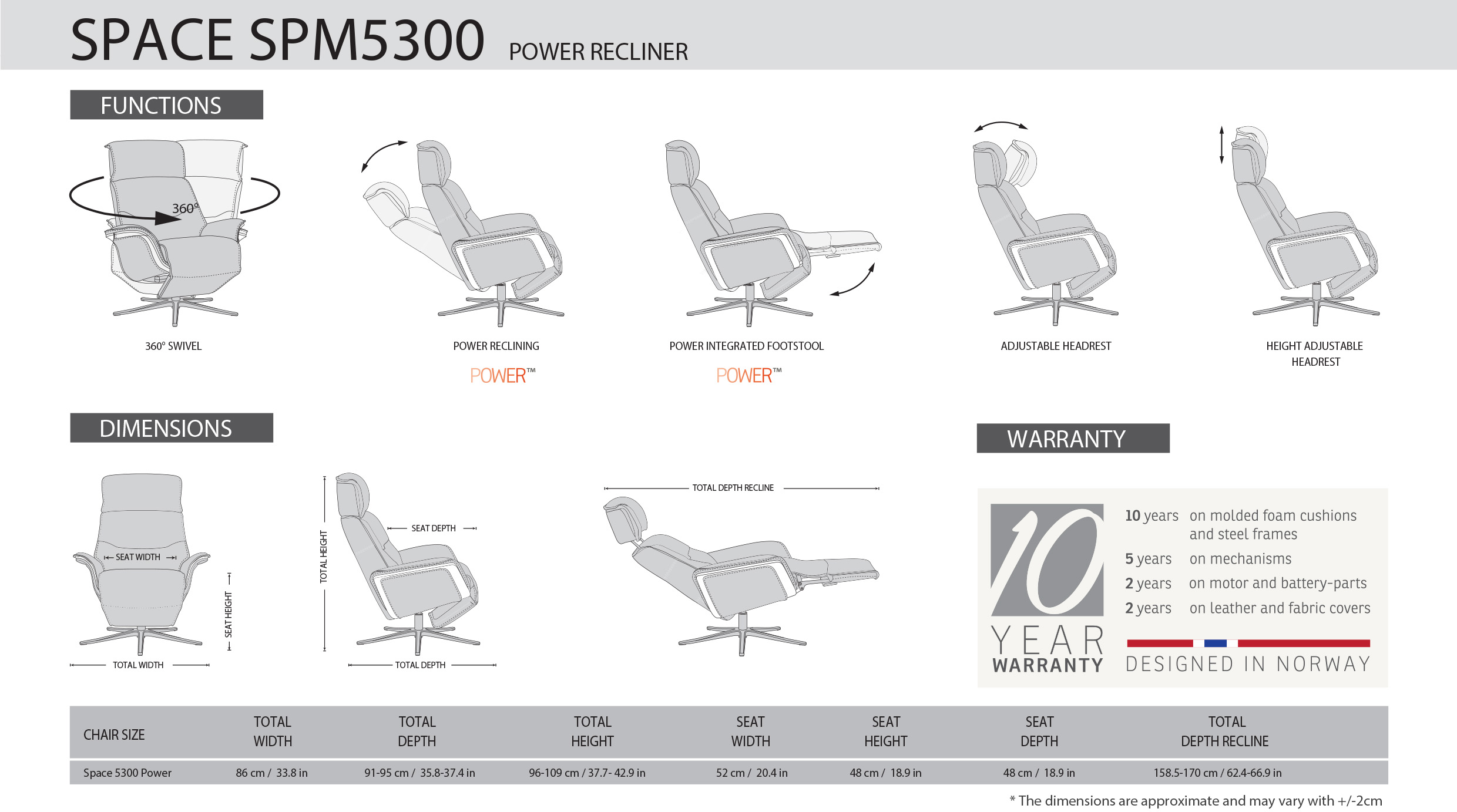 IMG Space SPM5300 Recliner Dimensions