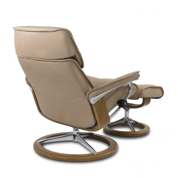 Stressless Admiral Signature in Paloma Sand with Teak Base, Back