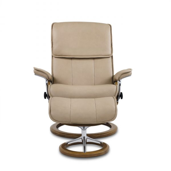 Stressless Admiral Signature in Paloma Sand with Teak Base, Front