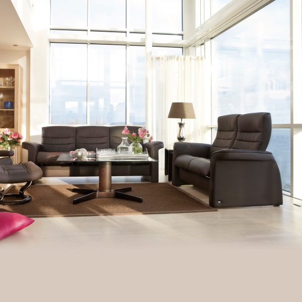 Stressless Sapphire Sofa and Loveseat in Paloma Chocolate