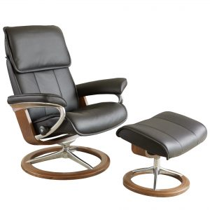 Stressless Admiral Signature Recliner in Paloma Black with a New Walnut Base and Ottoman