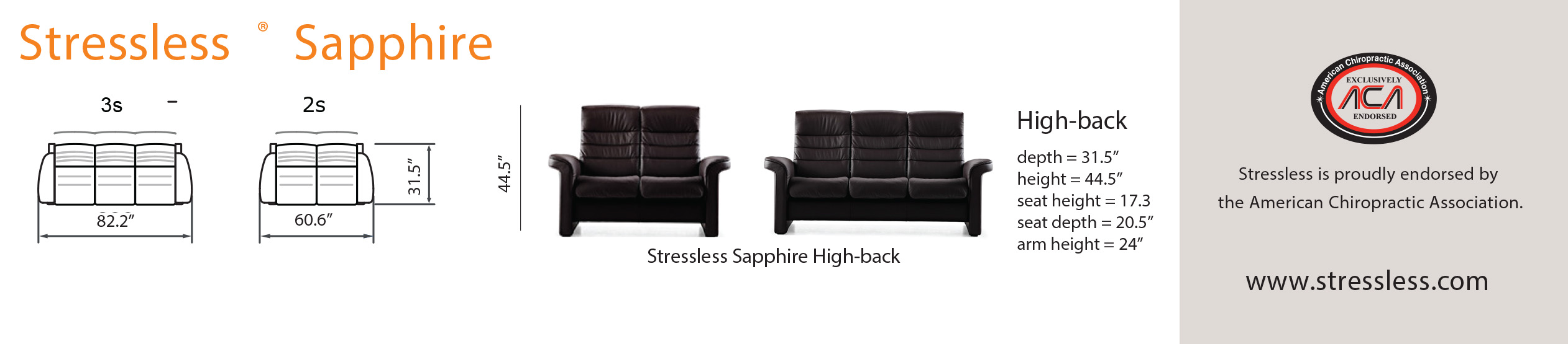 Stressless Sapphire Loveseat Dimensions