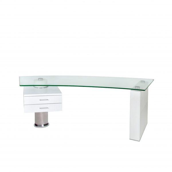 Trapeze Desk in White, Straight