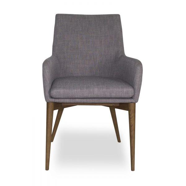 Vista Armchair in Light Grey Fabric, Front