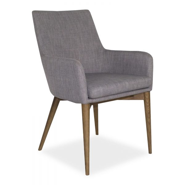 Vista Armchair in Light Grey Fabric, Angle