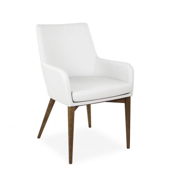 Vista Armchair in White Vinyl, Angle