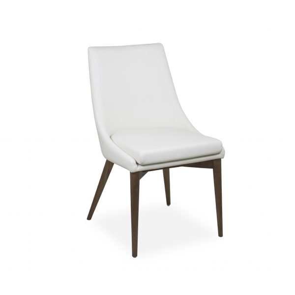 Vista Dining Chair in White Vinyl, Angle