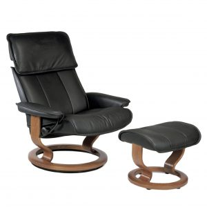 Stressless Admiral Classic Recliner and Ottoman in Paloma Black Leather with a Teak Wood Base