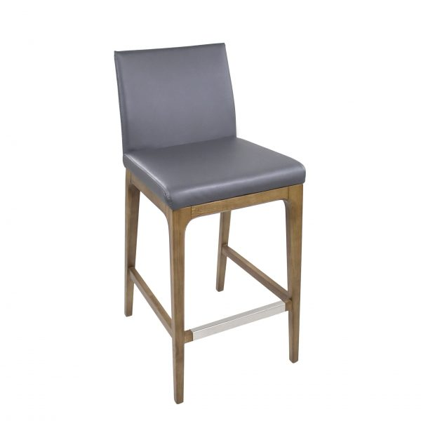 Dexter Counter Stool in Grey Vinyl, Angle