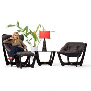 IMG Luna Low Back, Luna High Back and Ottoman in Trend Chocolate with Lady Sitting