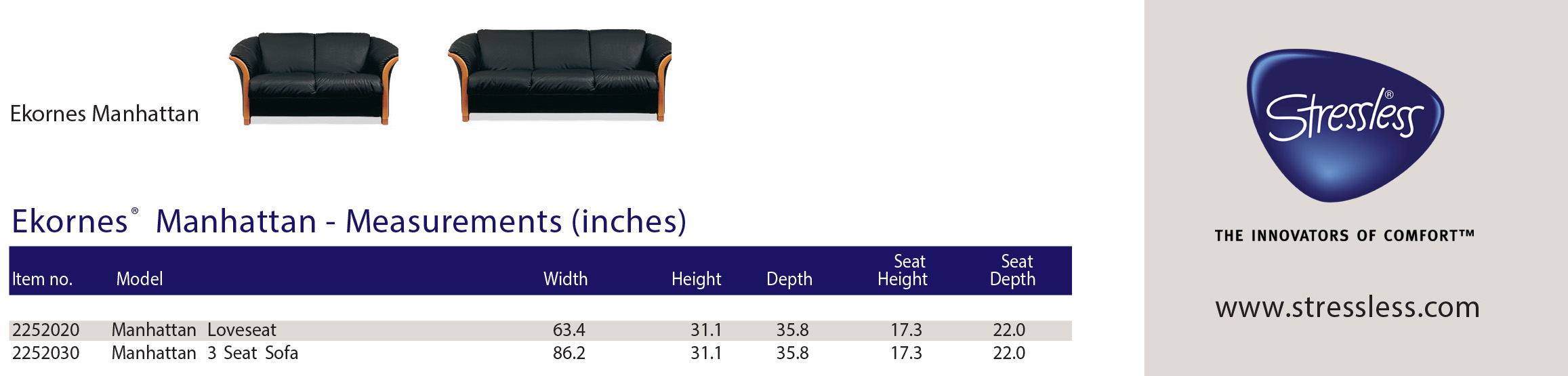 Ekornes® Manhattan Sofa Dimensions