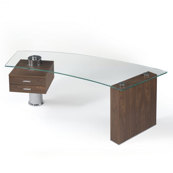 Trapeze Desk Walnut Front