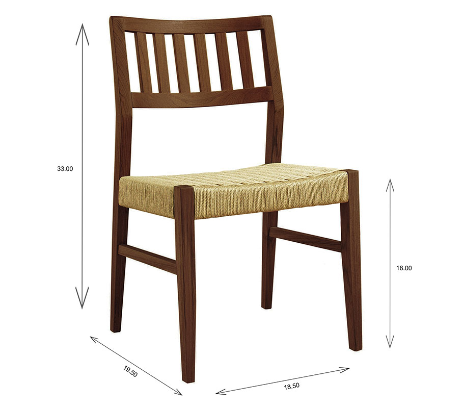 Sun Cabinet 1004RP Dining Chair with Dimensions