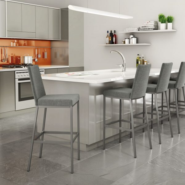 Amisco Linea Counter Stool, Grey Fabric, Kitchen