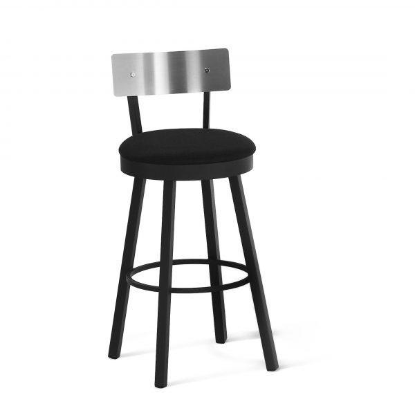 Amisco Lauren Swivel Counter Stool, Stainless Backrest, Black Fabric