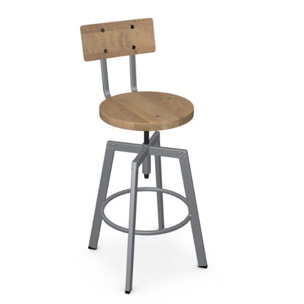 Amisco Architect Screw Stool, Wood Seat, Front