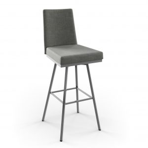 Amisco Linea Swivel Counter Stool in Grey Fabric, Front