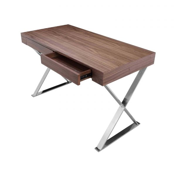 Alexa Desk in Walnut on angle with drawer open
