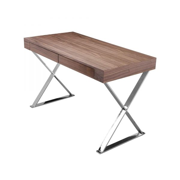 Alexa Desk in Walnut on angle with drawer closed
