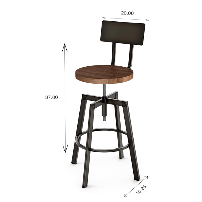 Amisco Architect Screw Stool Dimensions