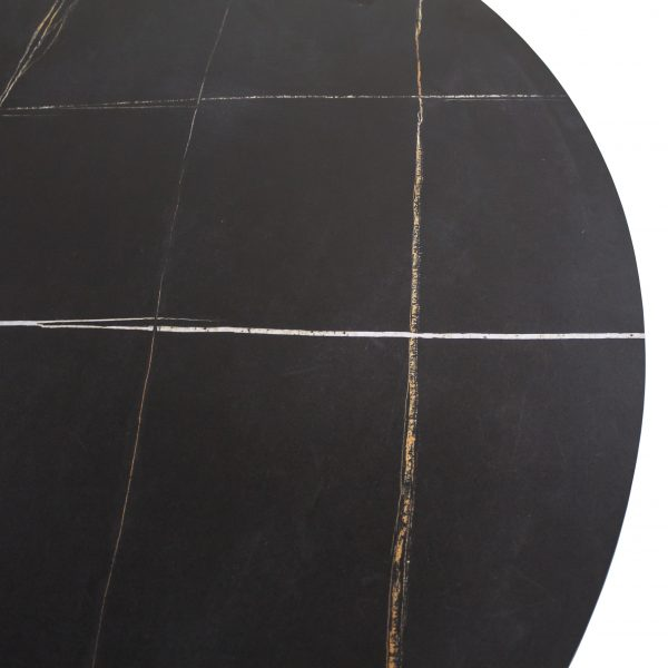 Astro Dining Table with a Black Ceramic Top, Close Up