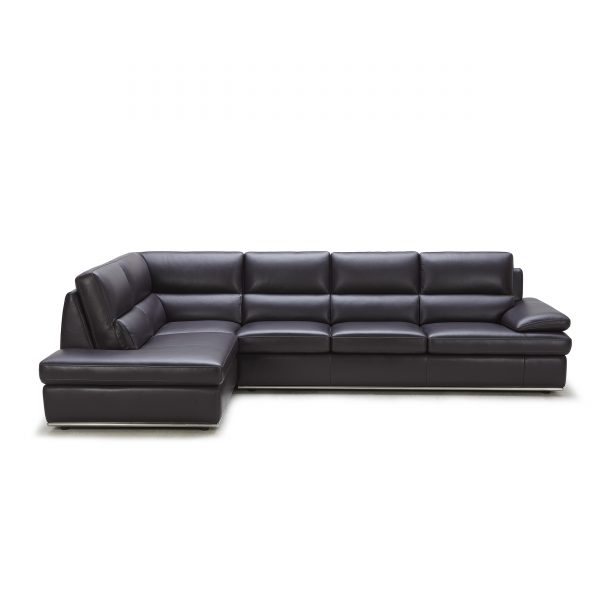 Bergen Sectional in Black Leather, Straight, SL