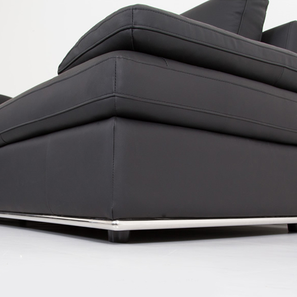 Bergen Sectional in Black Leather, Base Close Up