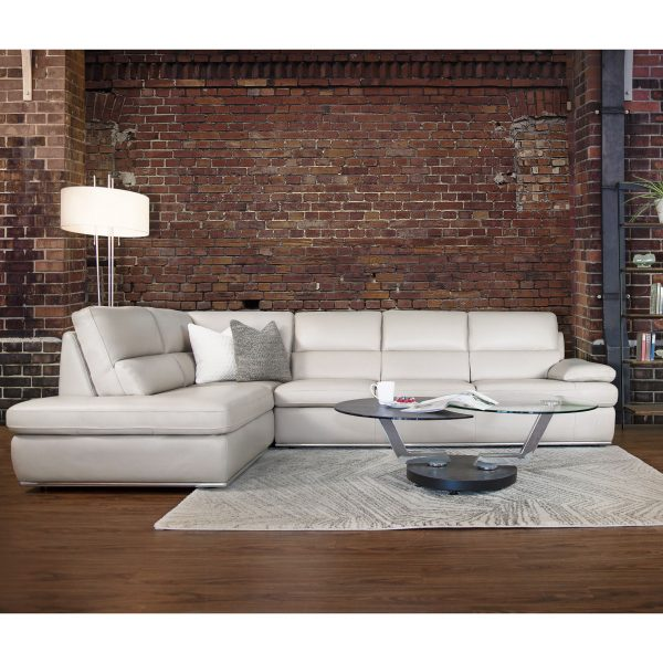 Bergen Sectional in Light Grey M Leather in Living Room