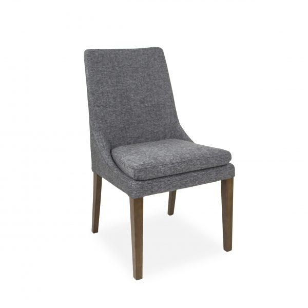 Cordova Dining Chair in Pepper C293 Fabric and Walnut, Angle