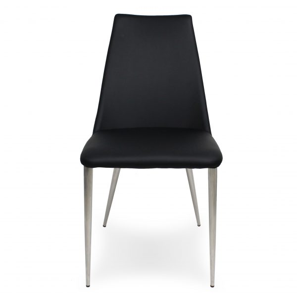 Clay Dining Chair in Black Vinyl, Front