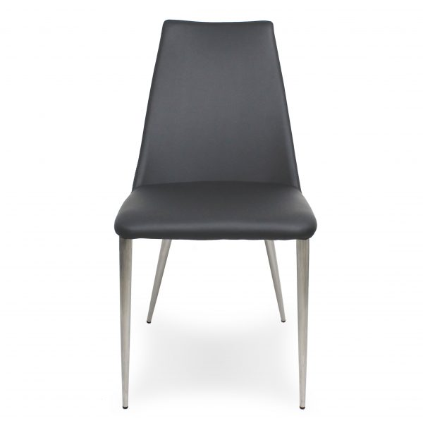 Clay Dining Chair in Grey Vinyl, Front