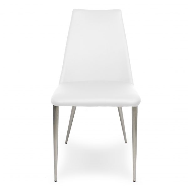 Clay Dining Chair in White Vinyl, Front