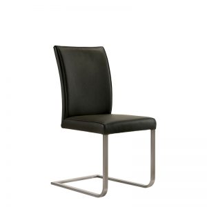 Cora Dining Chair in Black Leather, Angle
