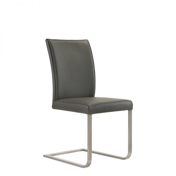 Cora Dining Chair in Grey Leather, Angle