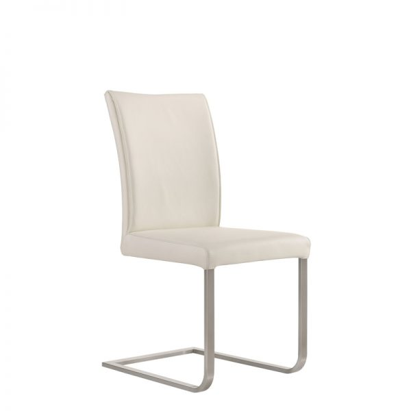 Cora Dining Chair in White Leather, Angle