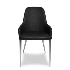 Costa Dining Chair in Black Vinyl, Front