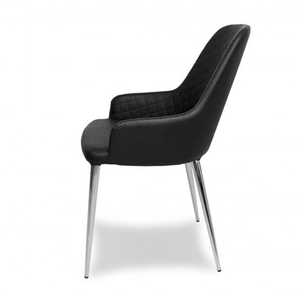 Costa Dining Chair in Black Vinyl, Side