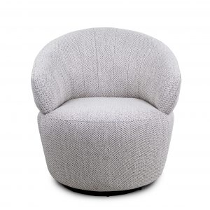 Dance Swivel Chair in Beige Fabric, Front
